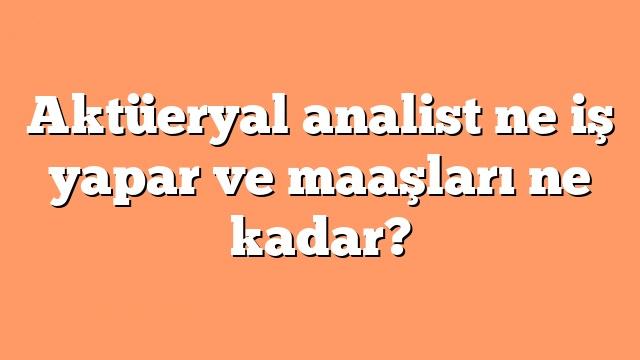 Aktüeryal analist ne iş yapar ve maaşları ne kadar?