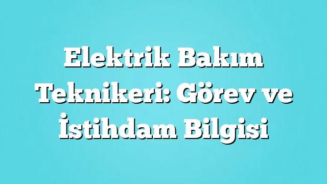 Elektrik Bakım Teknikeri: Görev ve İstihdam Bilgisi