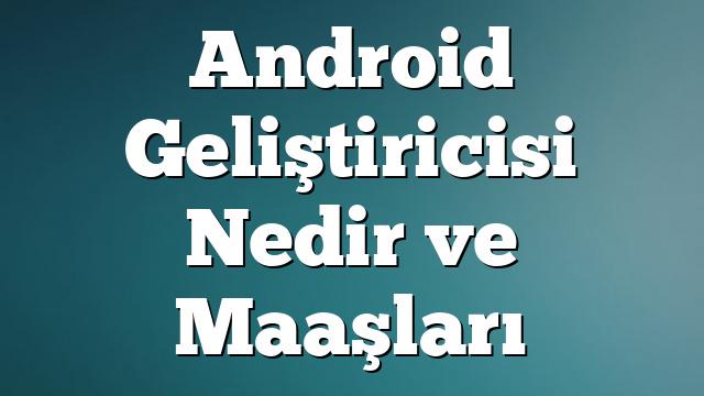 Android Geliştiricisi Nedir  ve Maaşları